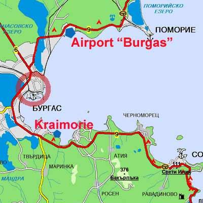 Район Крайморие на карте Бургаса